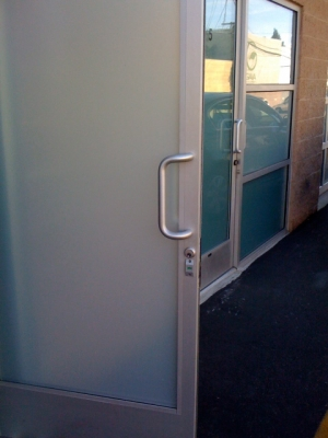 Storefront Door with frosted film