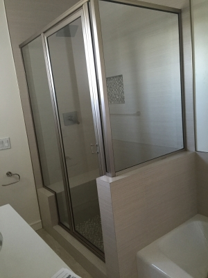 Brushed-nickel-finish-framed-shower-door